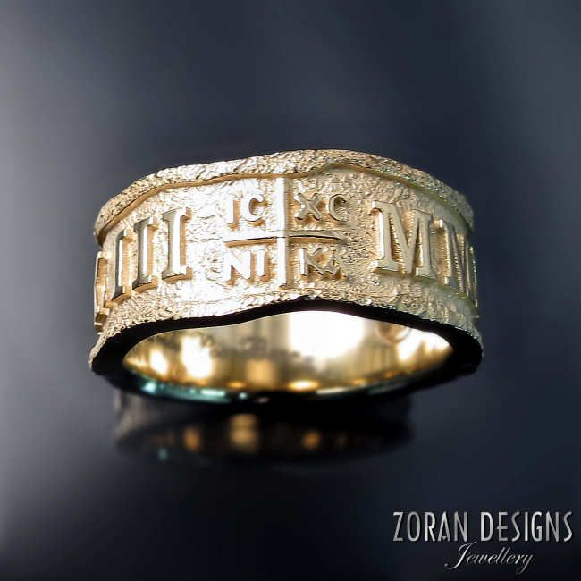 Unique mens wedding ring with Greek Orthodox cross by Toronto