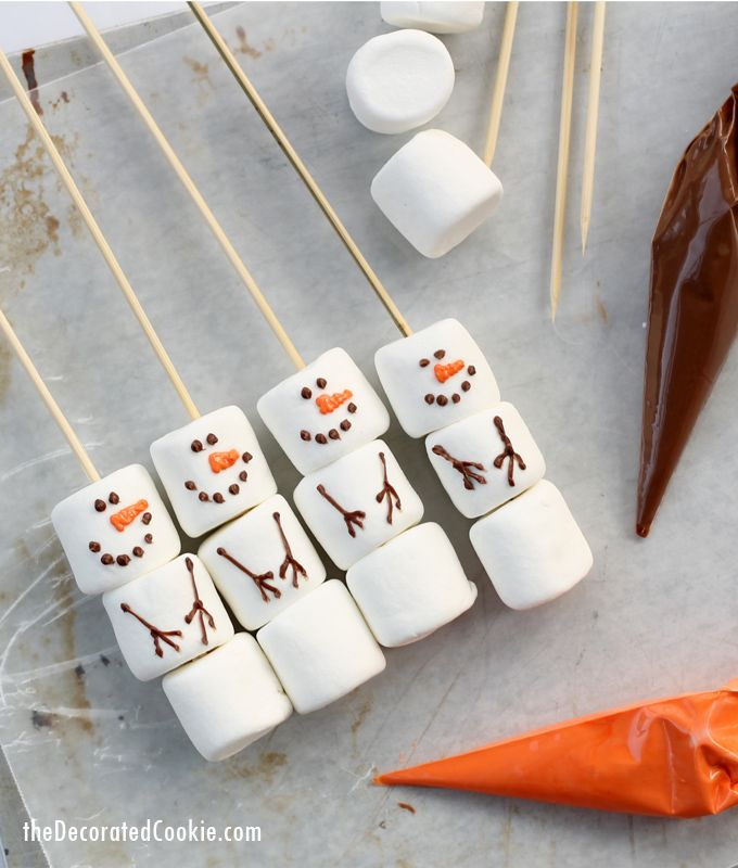 DIY marshmallow snowmen stirrers from the Williams-Sonoma catalog #marshmallow