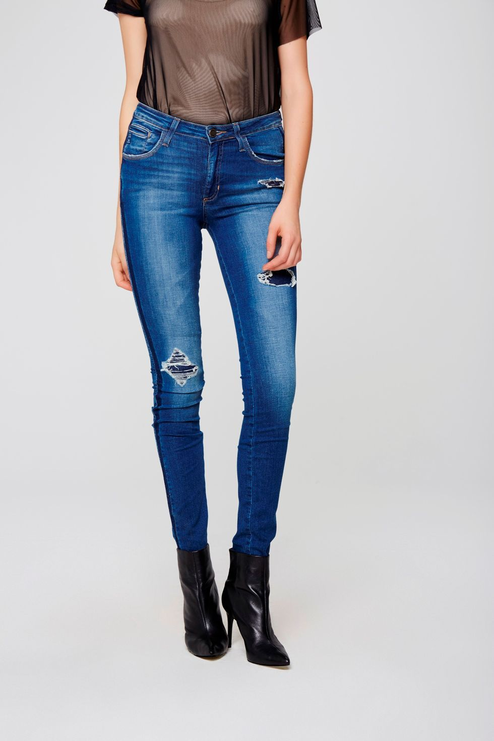 1373cbcf9 Calça Jeans Skinny Rasgada Feminina - Damyller