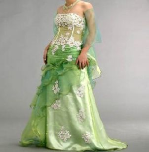 Appliques Green Wedding Dress With Organza Scarf For Sale