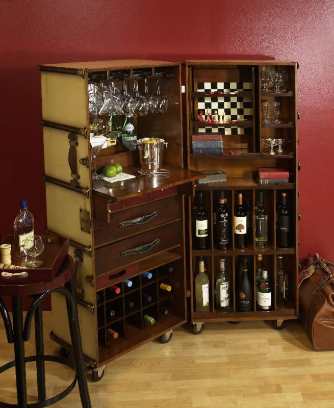 Ivory Stateroom Steamer Travel Trunk Bar, Portable Bar | Bar ...