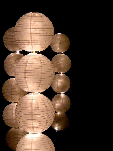 12 White Round Paper Lantern Even Ribbing Hanging Decoration