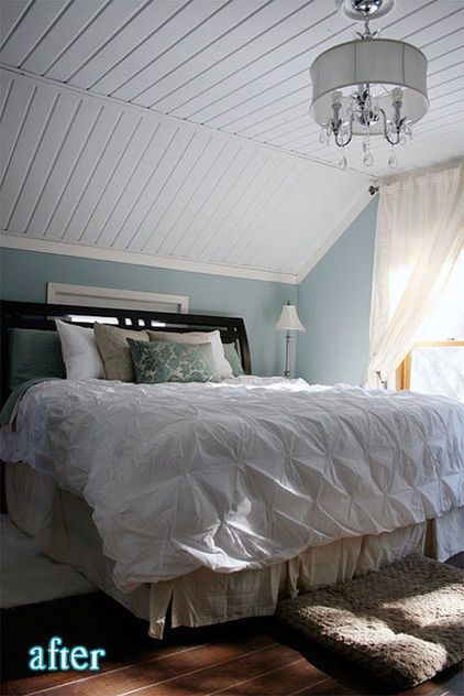 Slanted Ceiling With Simple Trim Instead Of Crown Molding Sloped Ceiling Bedroom Remodel Bedroom Slanted Ceiling Bedroom
