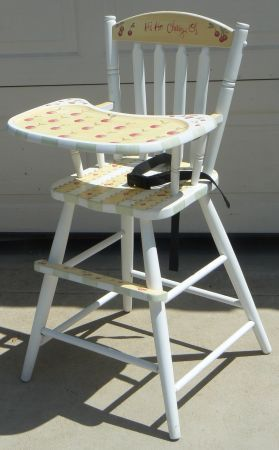 Cute high chair with cherries painted on it, what a great DIY idea :)