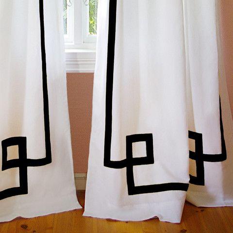 Black Greek Key Curtain