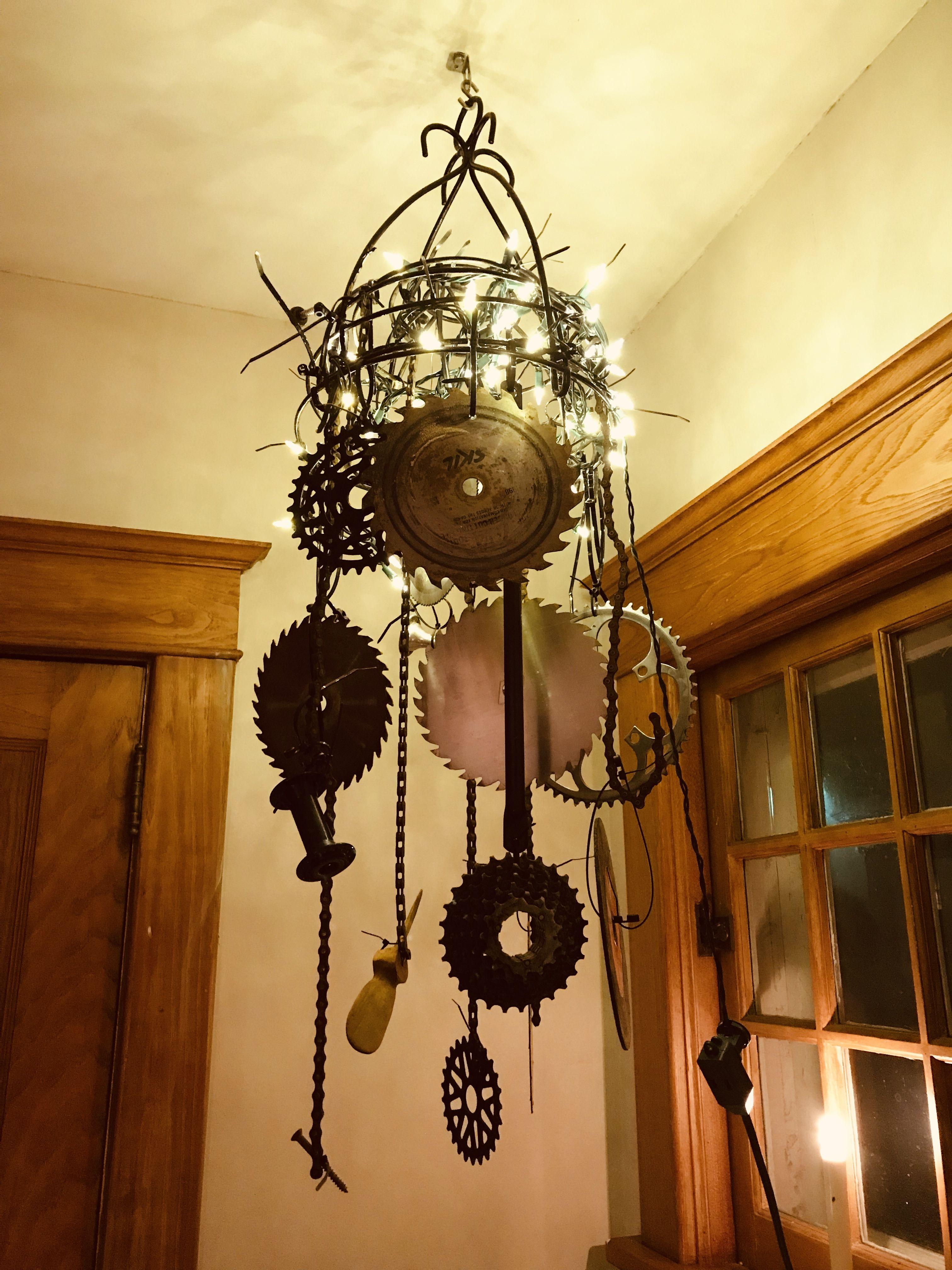 Hardware Chandelier Upside Down Hanging Basket Saw Blades Bike Parts Zip Ties Easy But Heavy Chandelier Ceiling Lights Hanging