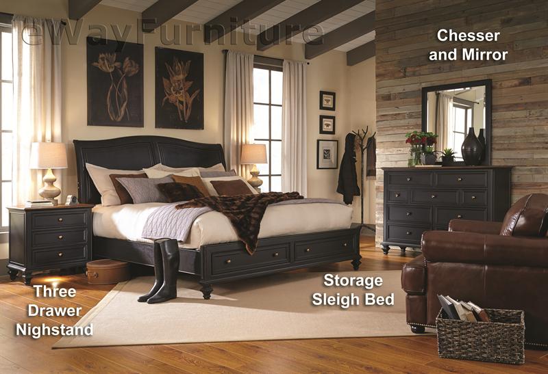 Salem Antique Black Storage Sleigh Bed Bedroom Set | bedroom | Black ...