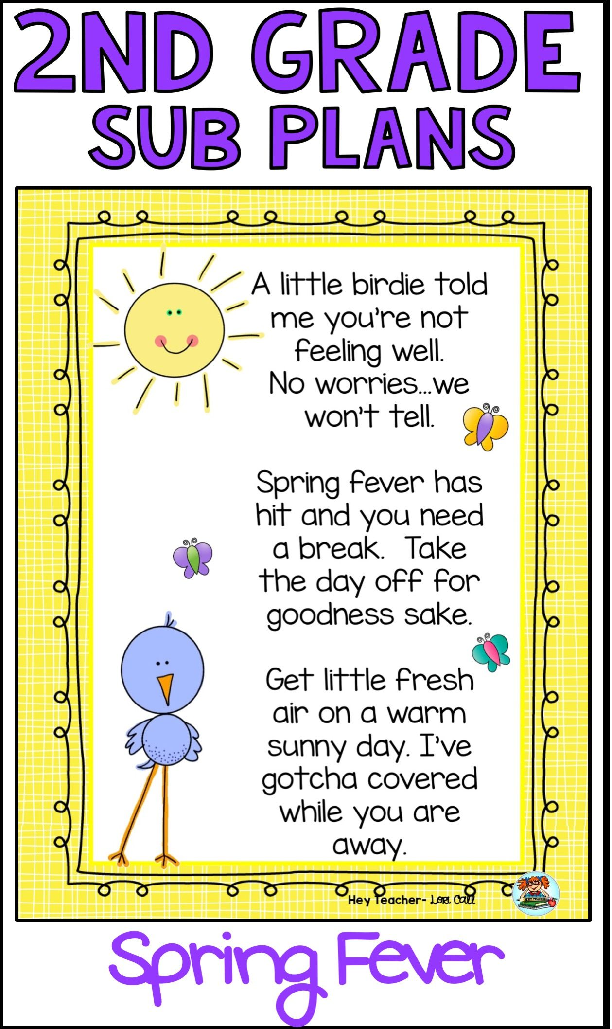 2nd Grade Sub Plans Spring Fever With Images Substitute