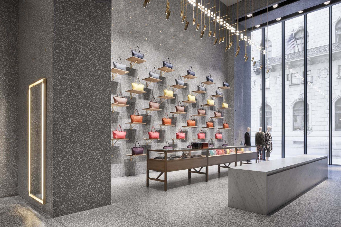 Valentino flagship store 5th ave nyc terrazzo marble for Retail store interior design