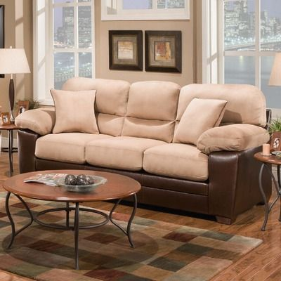 Newport Upholstery Charleston Padded Suede Stationary Sofa For the