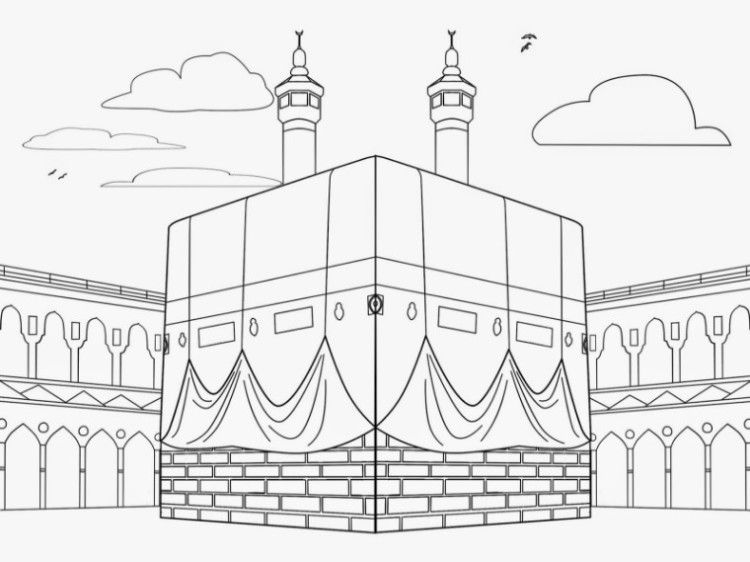 11 Contoh Mewarnai Gambar Masjid Sederhana Untuk Paud Tk Seni Islamis Warna Gambar