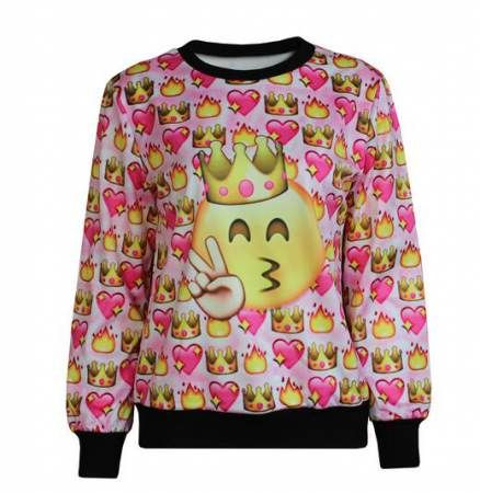 Cartoon Emoji Pullover Sweatshirt For Teenage Girls Sweatshirts Pullover Sweatshirt Teenage Girl