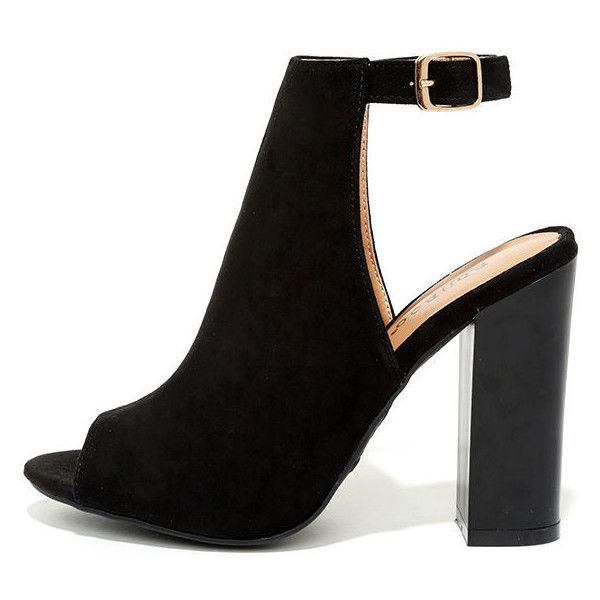 Budding Romance Black Suede Peep-Toe Booties ($34) ❤ liked on Polyvore featuring shoes, boots, ankle booties, heels, black, black ankle booties, heeled booties, cut out booties, black heeled boots and cut-out booties