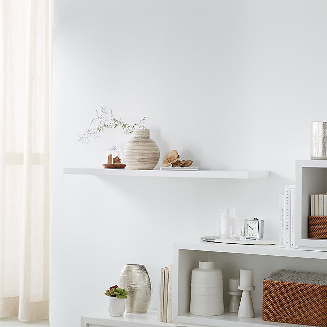 Display Shelves Picture Ledges Crate And Barrel In 2020 Floating Wall Shelves Floating Wall Floating Cube Shelves