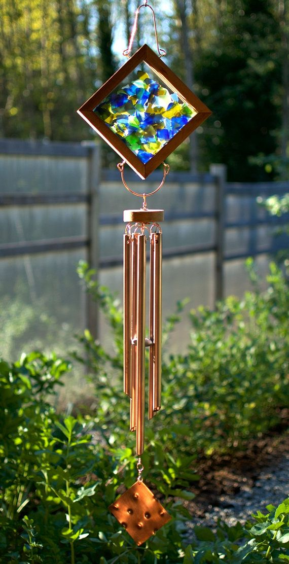 Wind Chimes Sea Glass Sun Catcher with Large Copper by CoastChimes