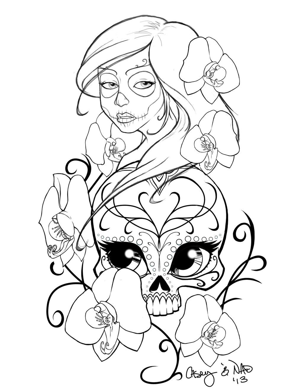 sugar skull sleeve tattoo design by smallesthingdeviantartcom on deviantart this - Sugar Skull Tattoo Coloring Pages