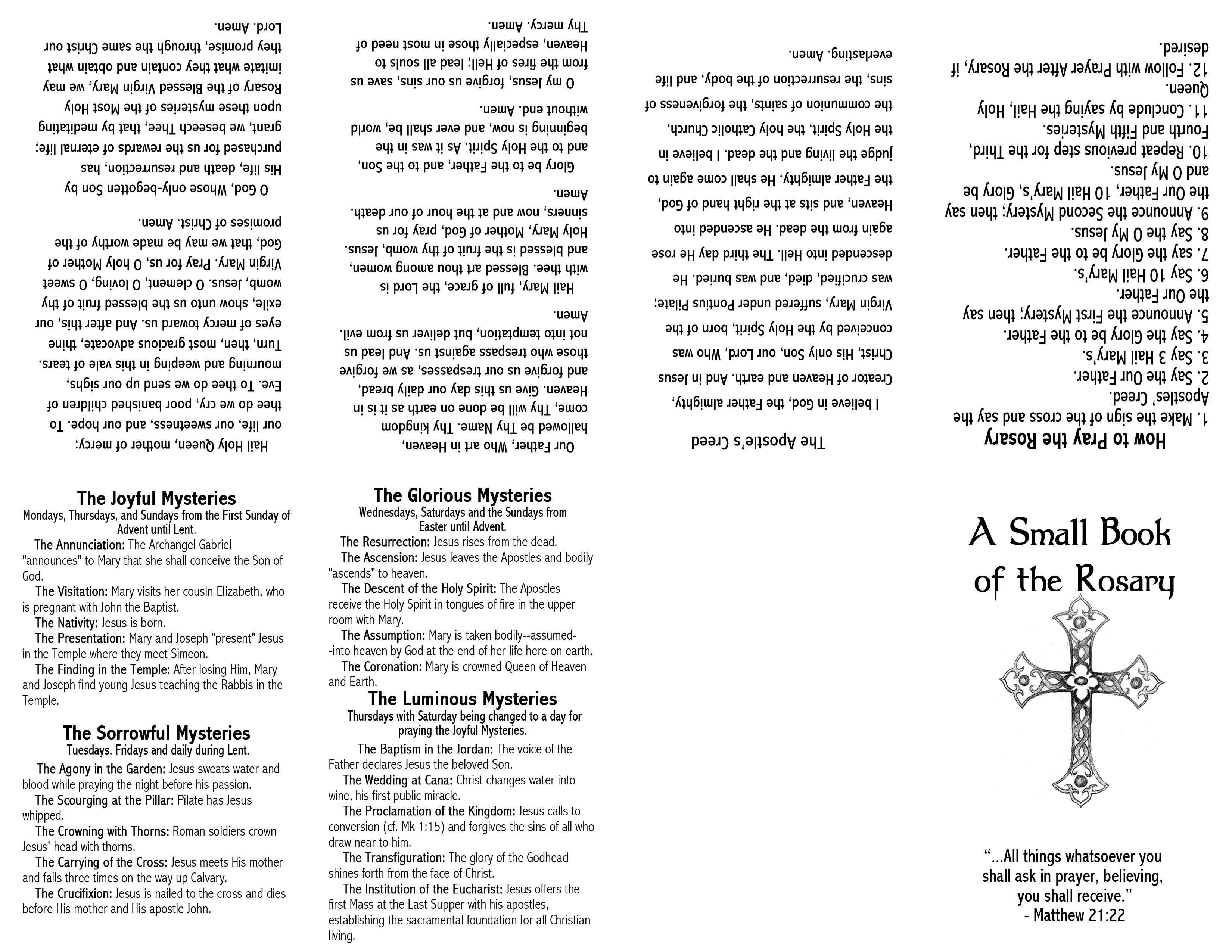 Small Book Of The Rosary Printable