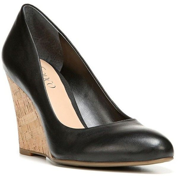 Franco Sarto Calix Leather Wedge Pumps ($75) ❤ liked on Polyvore featuring  shoes,