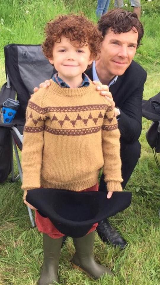 Benedict Cumberbatch with Tom Stoughton, the little boy who plays the young Sherlock in The Final Problem.  Photos of Tom Stoughton via his father on  https://richstoughton.tumblr.com/