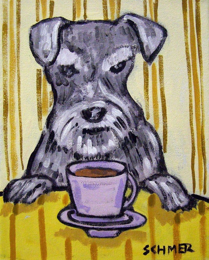 Scottish terrier dog coffee art 8x10  artist prints animals impressionism