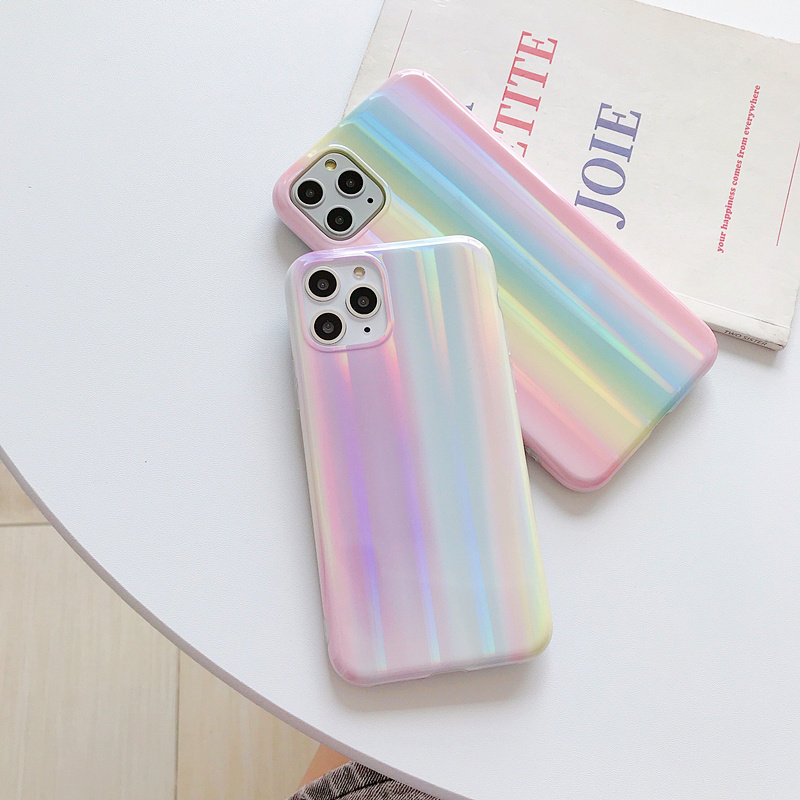 2020 的 Laser Light Rainbow Holographic Phone Case For