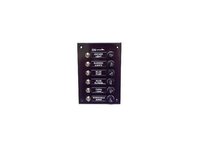 Details zu Schalttafel mit 6 Schaltern und Sicherungen - 12 Volt