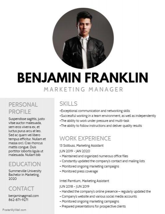 Resume PosterMyWall Pinterest Editor
