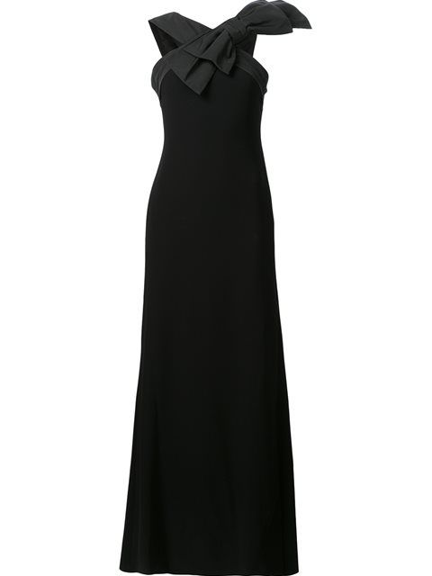 Boutique Moschino Floor Length Dress With Oversize Bow In Black Modesens Designer Evening Dresses Floor Length Dresses Boutique Moschino