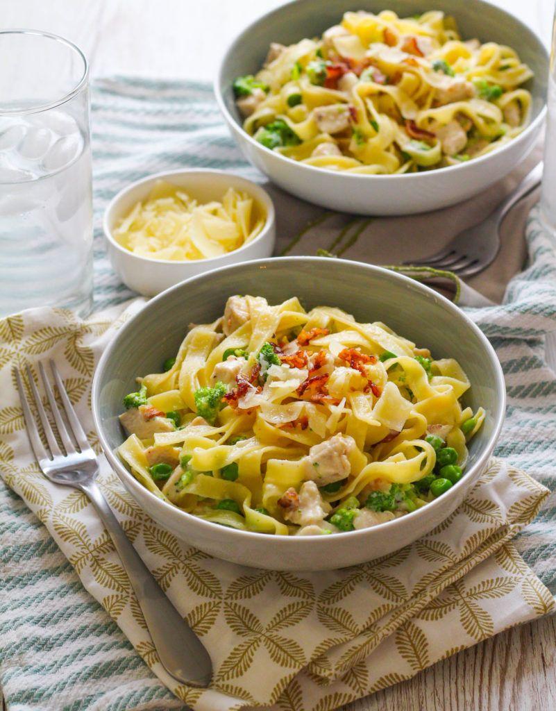 Chicken Alfredo Tagliatelle With Broccoli Sweet Peas
