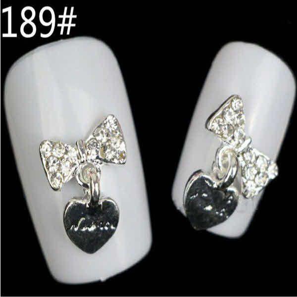 Cute Nail Designs – 2 Pcs Rhinestone Flower Bow Heart Dangles $3.98 ...
