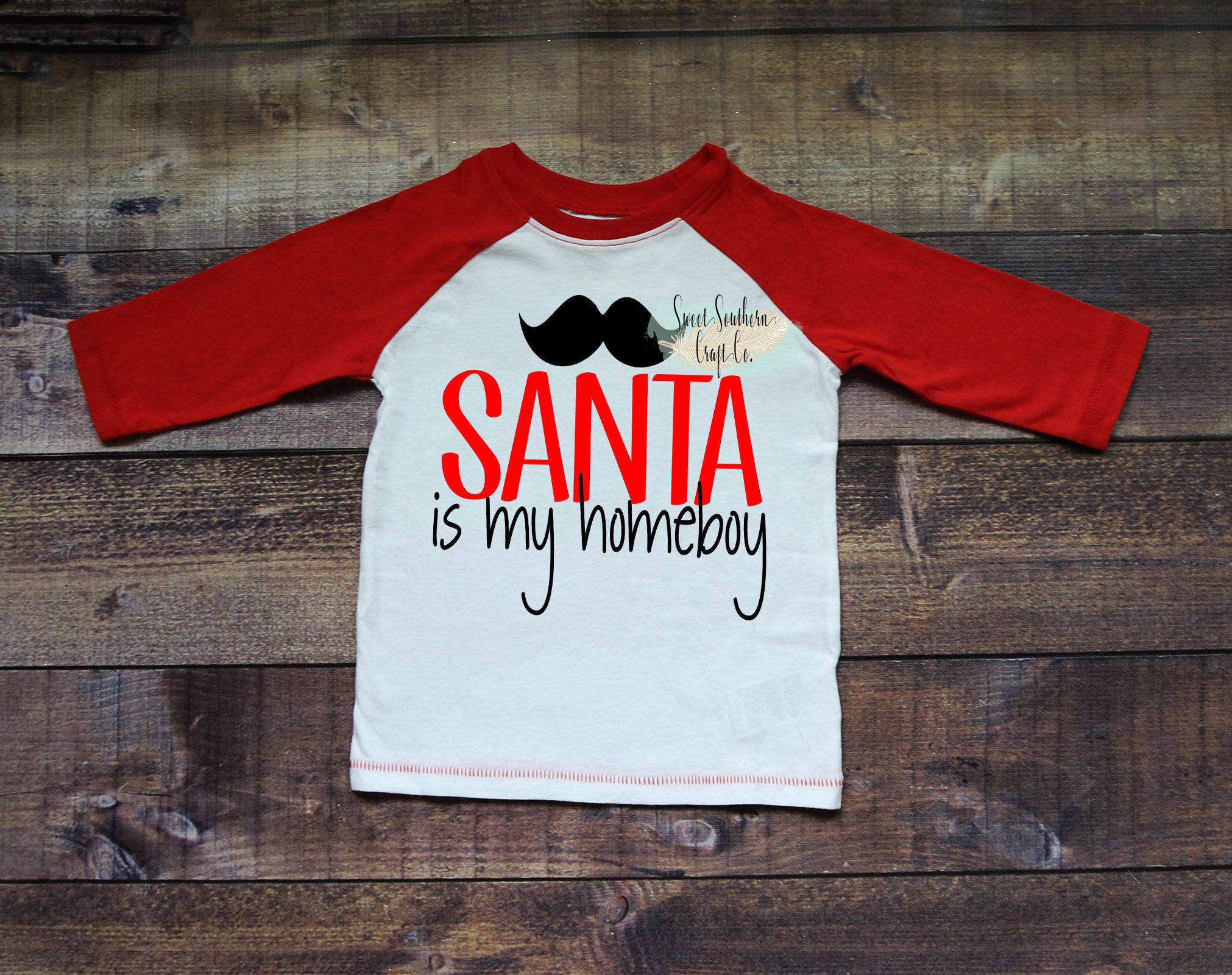 FREE SHIPPING***Santa Is My Homeboy Kids Christmas Raglan,Christmas ...