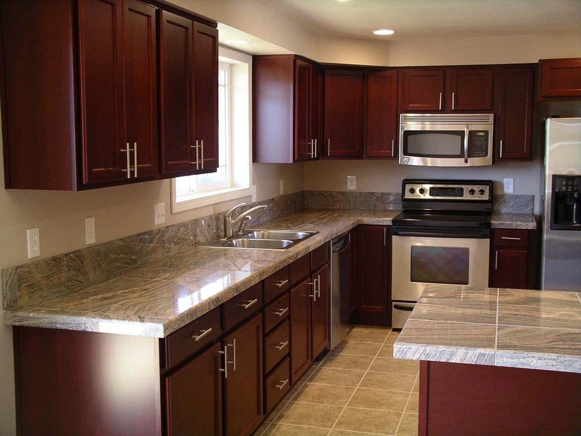 Granite Cherry Cabinets Kitchen Kitchen After Remodel Cherry Cabinets Tile Floor Can