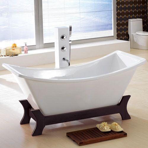 Martone Acrylic Double Slipper Tub on Wood Frame - this says \