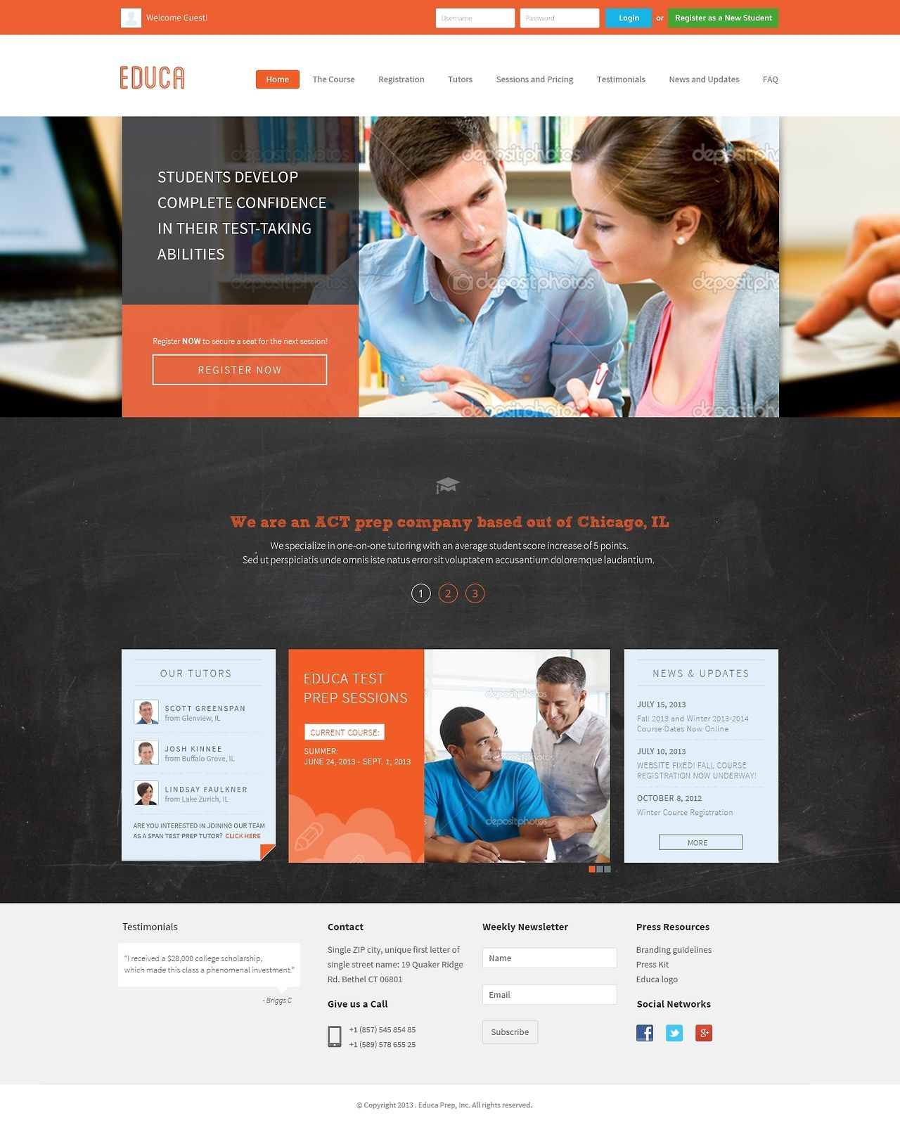 Educa - Free Education Website PSD Template