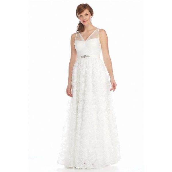 Adrianna Papell Ivory Bead Embellished Tule Chiffon Petal Gown -... ($280) ❤ liked on Polyvore featuring dresses, gowns, ivory, beaded evening gowns, white beaded dress, white gown, white sleeveless dress and white evening dresses