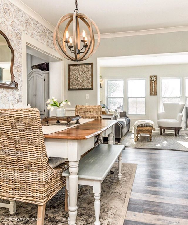 Farmhouse Dining Room And Sun Room Pops Of Texture And Colour Add