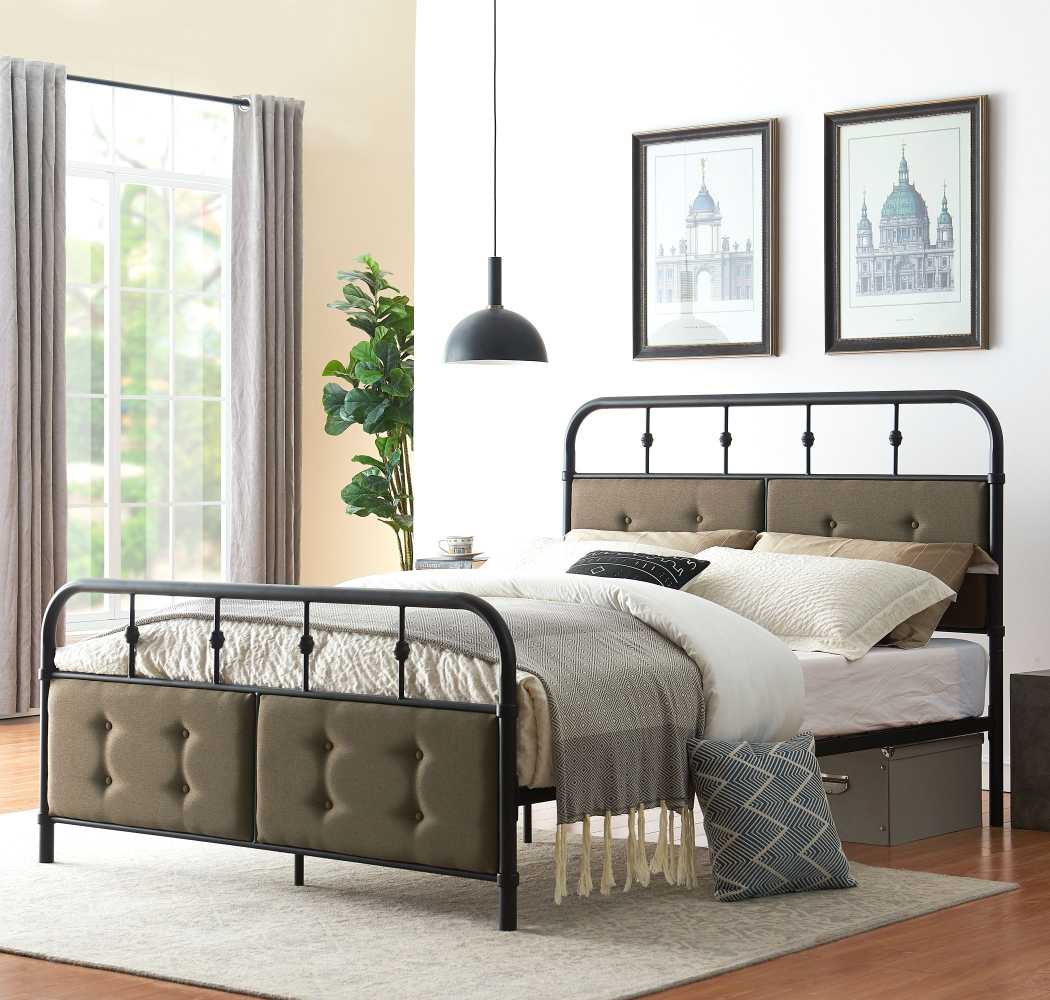 Metal Platform Bed Frame Full Queen Size With Vintage Headboard