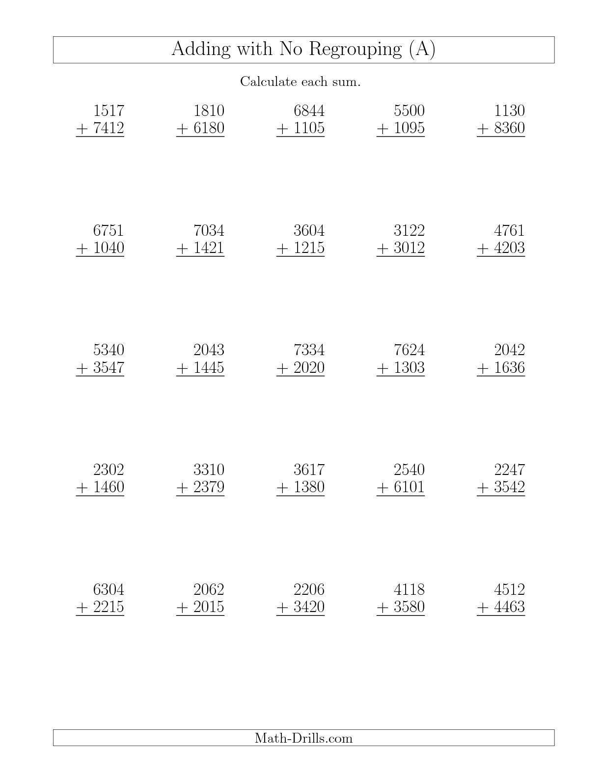 New 20151008 Adding 4Digit and 4Digit Numbers with No – Addition Without Regrouping Worksheet