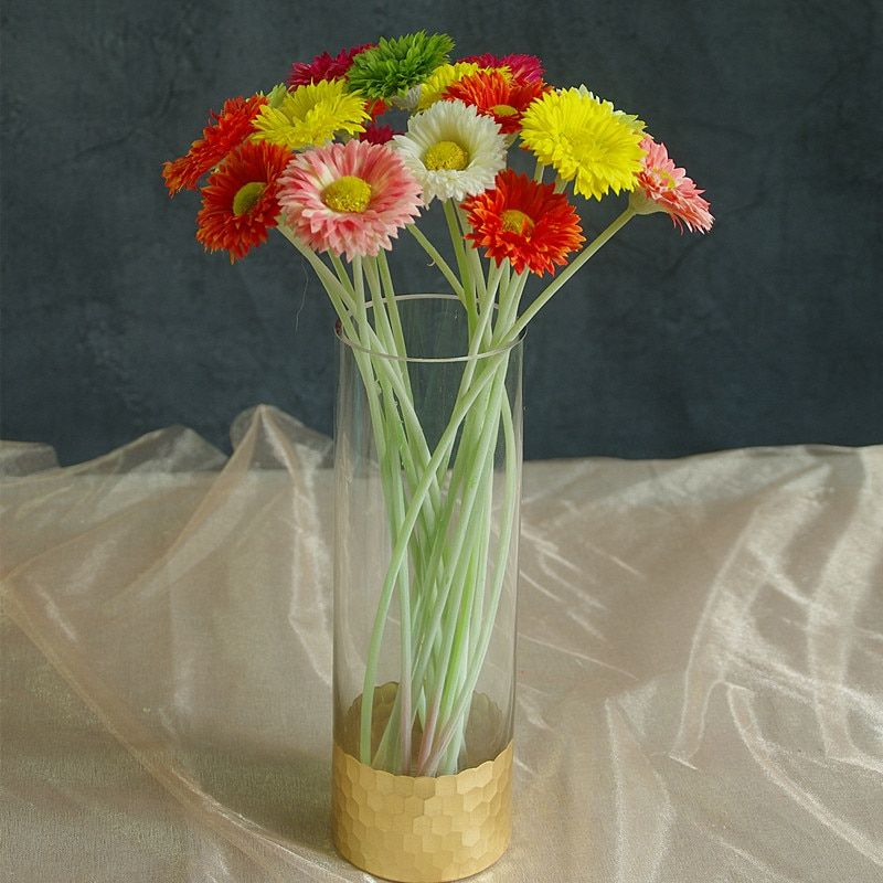 Find More Artificial Dried Flowers Information About 18pcs Mixed Color Mini Daisy Flower Gerbera African D Fake Flowers Decor Fake Flowers Flower Decorations