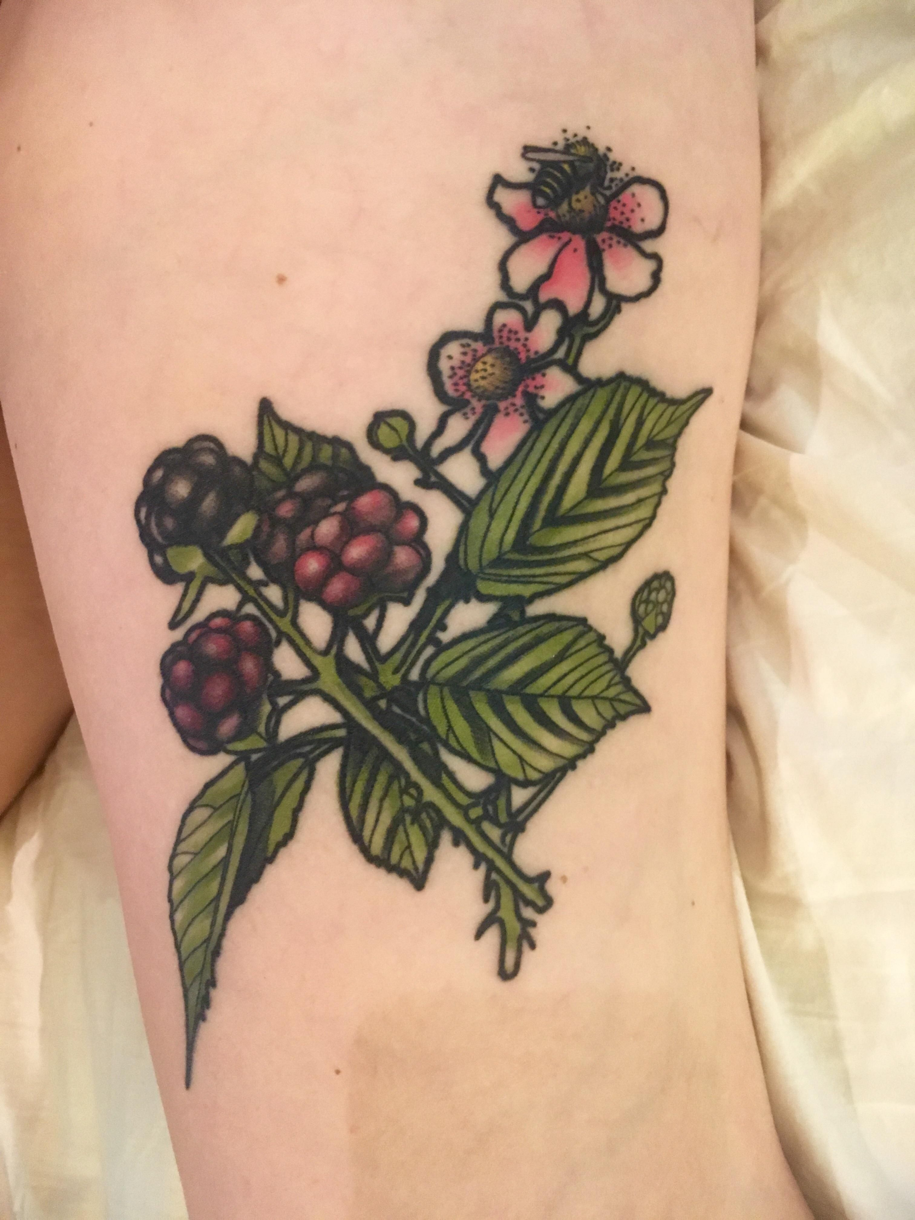 Blackberries with a honeybee on my thigh dedicated to my