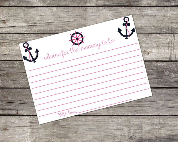 Mommy Advice Card Pink and Navy Nautical Themed with Matching Invitation