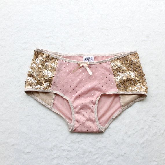 Lingerie Sample SALE Pink and Gold Sequin Polka Dot Panties Handmade ...