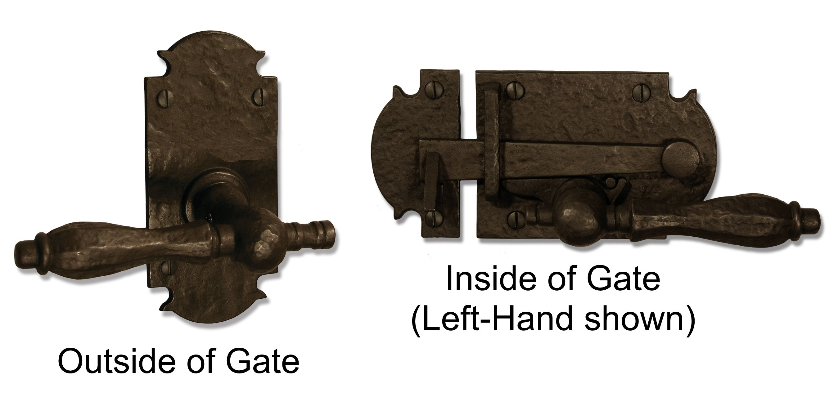 Dark Bronze Ornate Plate With Lever Latch Pkg For Double Gate   360  Yardware: Your Source For Contemporary Gate Hardware And More!