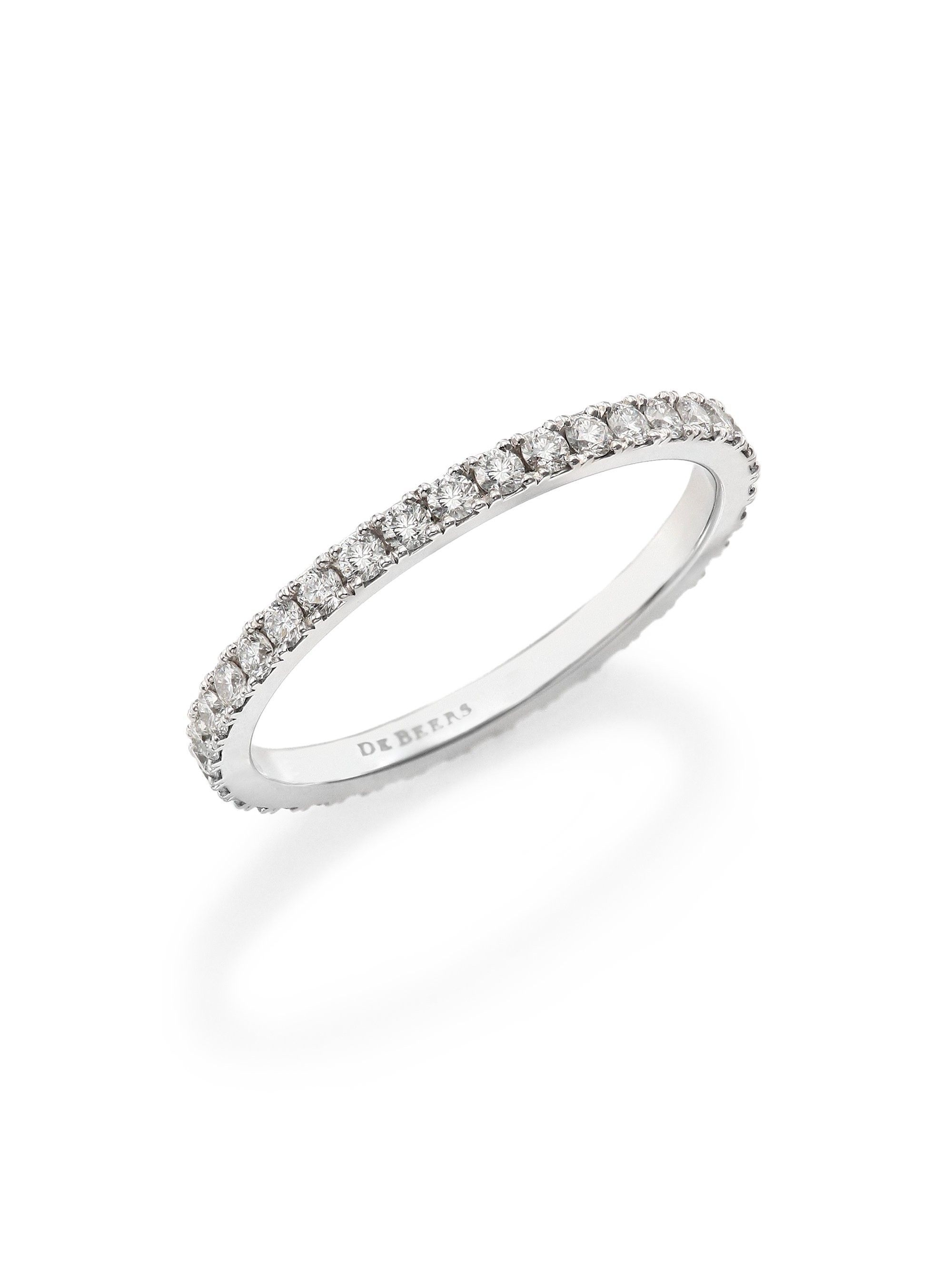 De beers classic diamond u platinum full eternity band ring