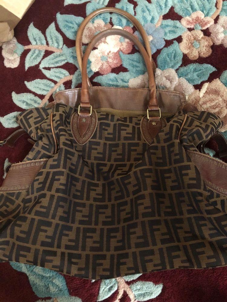 Authentic FENDI Vintage Handbag Brown Leather Straps Large Tote Bag  Signature  fashion  clothing   35beefe06b907