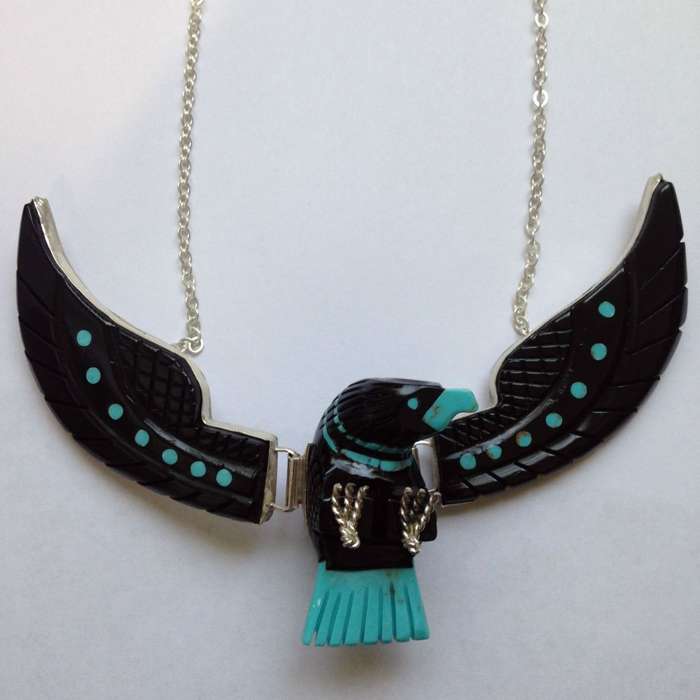 Navajo hand made sterling silver black jet stone necklace.