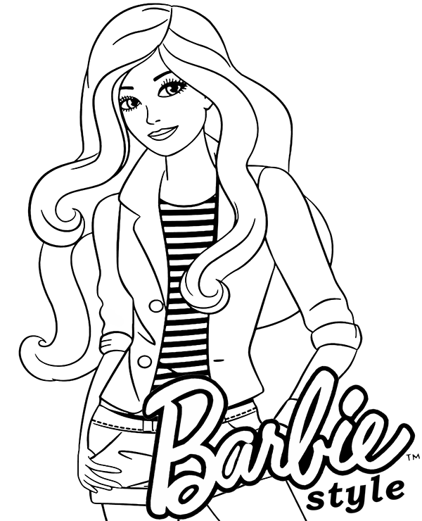 Gallery Barbie style coloring page is free HD wallpaper.