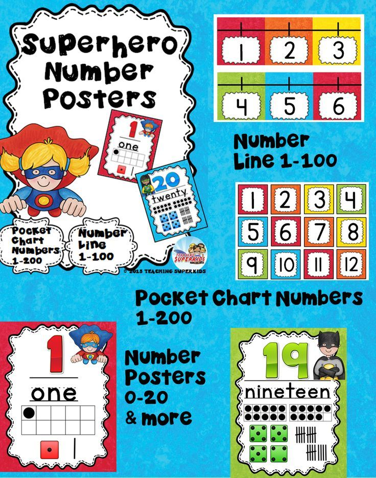 Superhero Themed Number Posters 0-20 with ten frame, tally marks and dice!   Additional posters for 30,40,50,60,70,80,90,100,1000 have now been added as well as a number line 1-100.