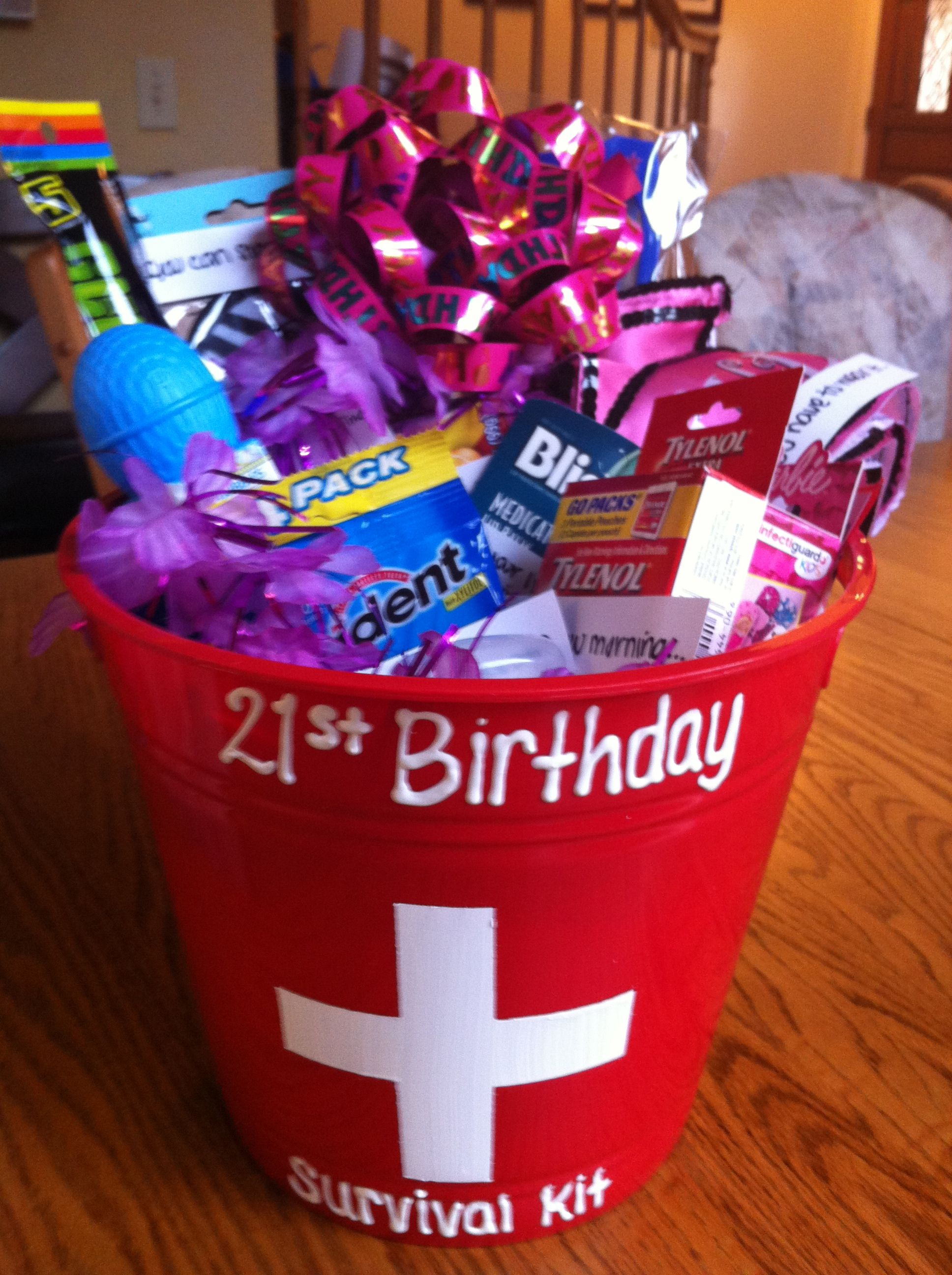 Gift Basket My Daughter Made This For Her Sister Who Was Turning 21 She Put Funny Sayings On Each Item It A Huge Hit