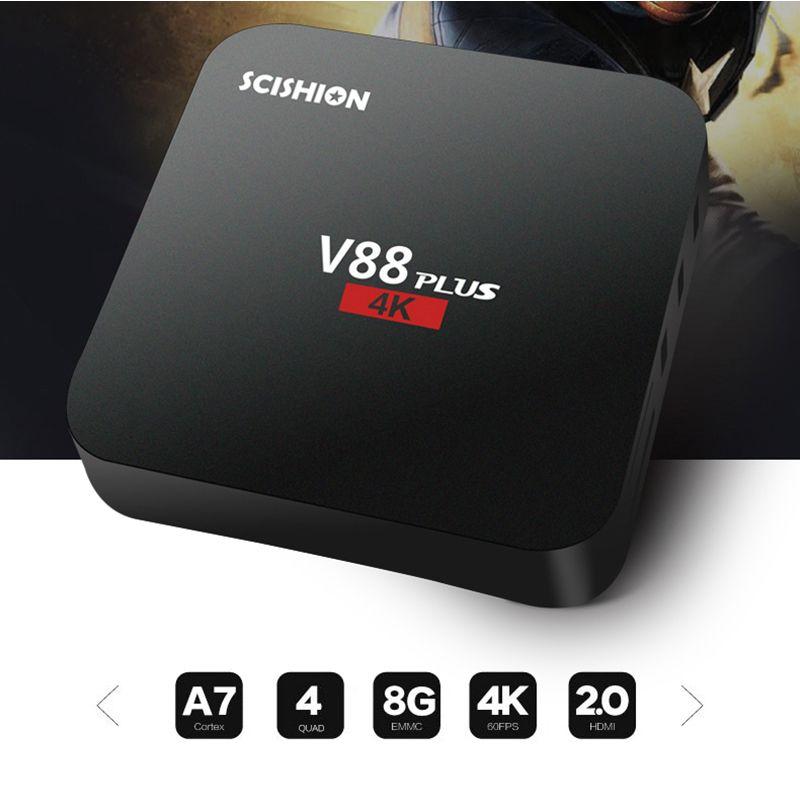 SCISHION V88 mini Android 6.0 Smart TV Box 8G RK3229 Quad-Core HD 4K H.265 Media